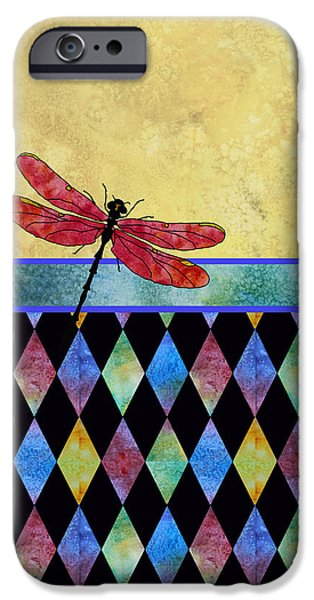 Flies Mixed Media iPhone Cases - Lady in Red iPhone Case by Jenny Armitage