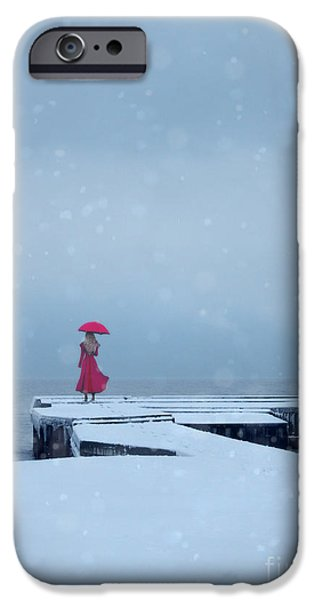 Recently Sold -  - Snowy iPhone Cases - Lady in Red on Snowy Pier iPhone Case by Jill Battaglia