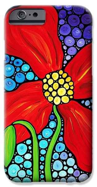 Purple Prints iPhone Cases - Lady In Red - Poppy Flower Art by Sharon Cummings iPhone Case by Sharon Cummings