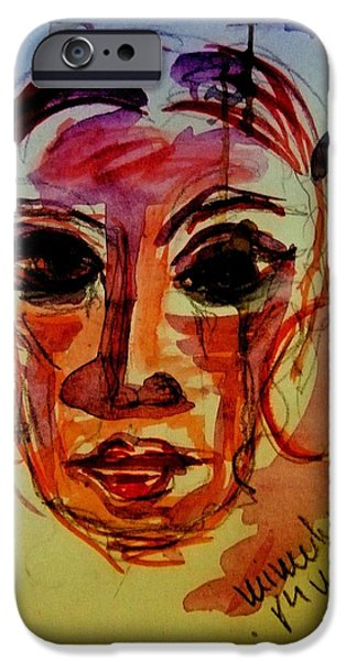 Torn Drawings iPhone Cases - Lady In Red - Silent Tears iPhone Case by Mimulux patricia no