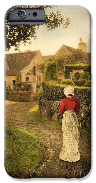 Charming Cottage iPhone Cases - Lady in Regency Dress Walking iPhone Case by Jill Battaglia