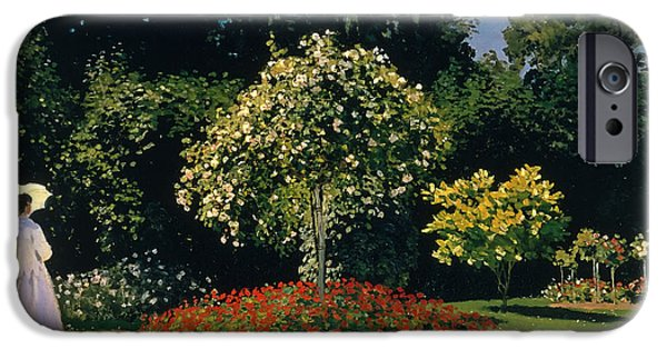 Concept Paintings iPhone Cases - Lady in the Garden iPhone Case by Claude Monet