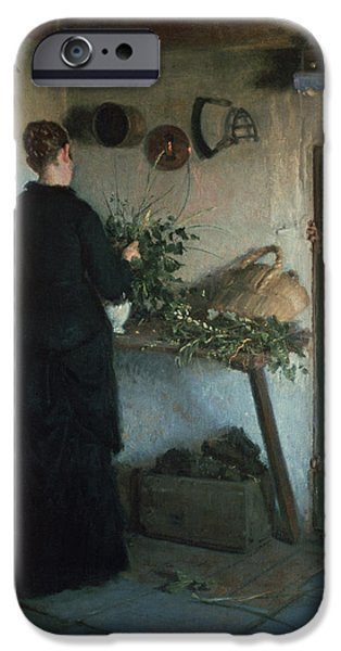 Basket iPhone Cases - Lady In The Kitchen iPhone Case by Viggo Johansen