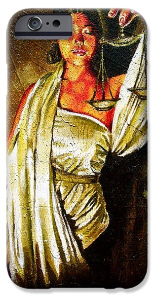 Gift For A iPhone Cases - Lady Justice Sepia iPhone Case by Laura Pierre-Louis