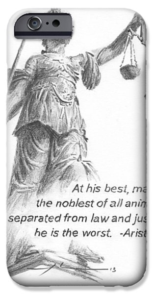 Statue Portrait Paintings iPhone Cases - Lady Justice Statue Pencil Portrait iPhone Case by Mike Theuer