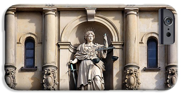 Recently Sold -  - Law Enforcement iPhone Cases - Lady Justice with Scale and Sword iPhone Case by Jannis Werner