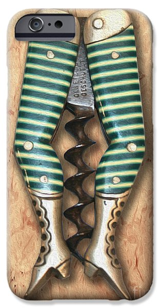 Food And Beverage Mixed Media iPhone Cases - Lady Legs Corkscrew Painting iPhone Case by Jon Neidert
