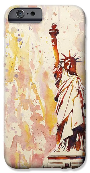 Statue Of Liberty Paintings iPhone Cases - Lady Liberty 1 iPhone Case by Ryan Fox
