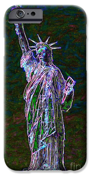 Fourth Of July iPhone Cases - Lady Liberty 20130115 iPhone Case by Wingsdomain Art and Photography