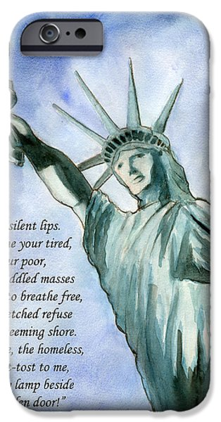 Patriotism Paintings iPhone Cases - Lady Liberty iPhone Case by Brian Meyer