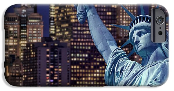 Concept Digital iPhone Cases - Lady Liberty by night iPhone Case by Delphimages Photo Creations