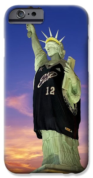 All Star Game iPhone Cases - Lady Liberty Dressed Up For The NBA All Star Game iPhone Case by Susan Candelario