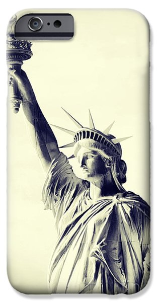 Statues Pyrography iPhone Cases - Lady Liberty iPhone Case by Fernando Tobar