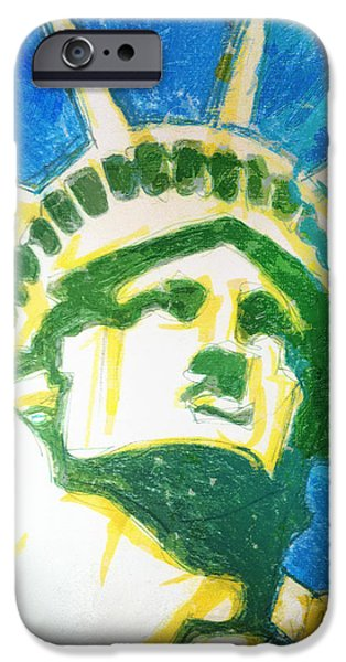 Statue Portrait Drawings iPhone Cases - Lady Liberty iPhone Case by Jerrett Dornbusch