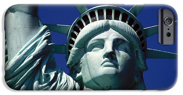 Statue iPhone Cases - Lady Liberty iPhone Case by Jon Neidert