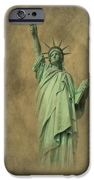 4th July Digital Art iPhone Cases - Lady Liberty New York Harbor iPhone Case by David Dehner