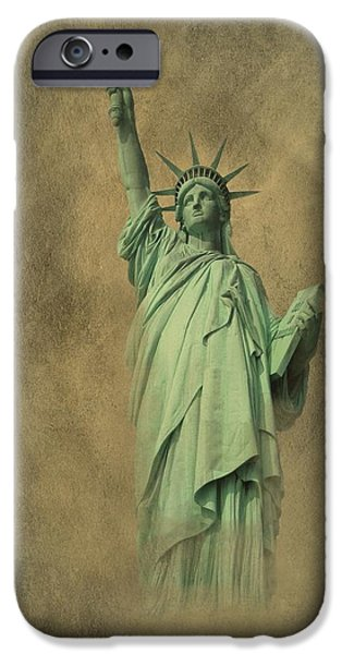 Goddess Of Liberty iPhone Cases - Lady Liberty New York Harbor iPhone Case by David Dehner
