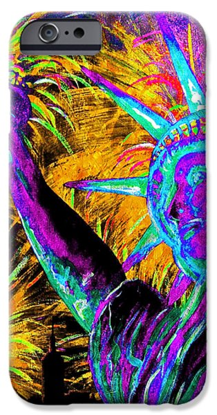 4th July Paintings iPhone Cases - Lady Liberty NYC iPhone Case by Teshia Art
