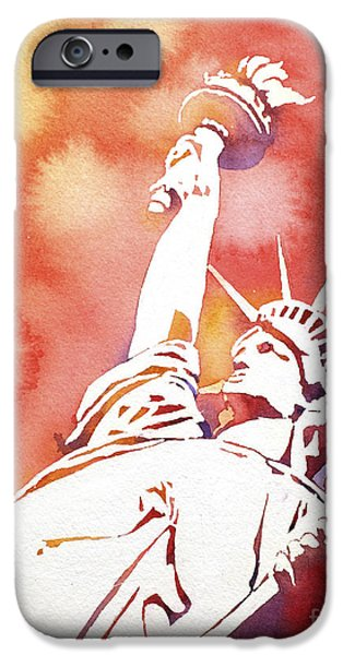 Statue Of Liberty Paintings iPhone Cases - Lady Liberty- Red States iPhone Case by Ryan Fox