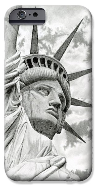 4th July Drawings iPhone Cases - Lady Liberty  iPhone Case by Sarah Batalka