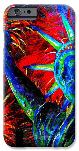 4th July Paintings iPhone Cases - Lady Liberty iPhone Case by Teshia Art