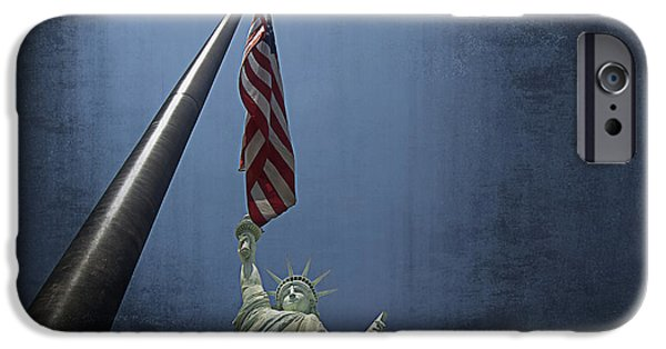 American Flag iPhone Cases - Lady Liberty Vegas iPhone Case by See My  Photos