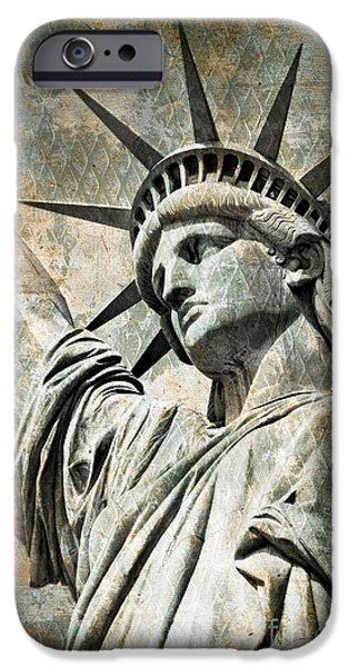 Statue Portrait iPhone Cases - Lady Liberty vintage iPhone Case by Delphimages Photo Creations