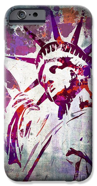 Statue Portrait iPhone Cases - Lady Liberty watercolor iPhone Case by Delphimages Photo Creations