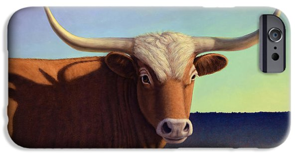 Steer Paintings iPhone Cases - Lady Longhorn iPhone Case by James W Johnson