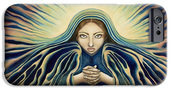 Spiritual Portrait Of Woman iPhone Cases - Lady of Light iPhone Case by Lyn Pacificar