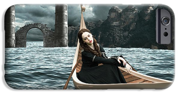 Fay iPhone Cases - Lady of Llyn-y-Fan Fach iPhone Case by Linda Lees