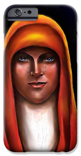Spiritual Portrait Of Woman iPhone Cases - Lady of Sorrow iPhone Case by Carmen Cordova