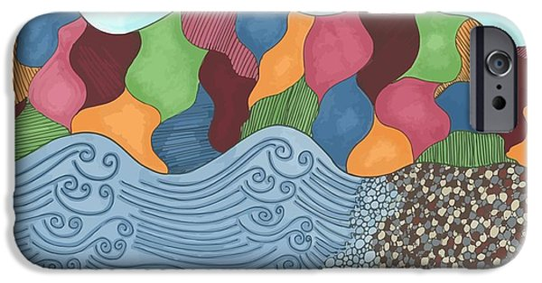 Abstract Beach Landscape Drawings iPhone Cases - Lady of the Lake iPhone Case by Jill Lenzmeier