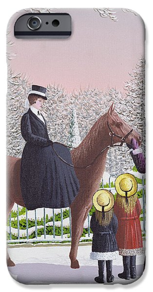 Snow iPhone Cases - Lady On Horseback iPhone Case by Peter Szumowski