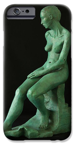 Nudes Sculptures iPhone Cases - Lady on the rock iPhone Case by Flow Fitzgerald
