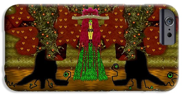 Tree Roots Mixed Media iPhone Cases - Lady Panda in the breadfruit forest iPhone Case by Pepita Selles
