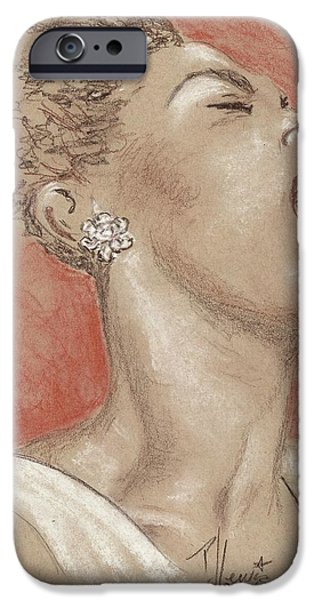 African-american Drawings iPhone Cases - Lady sings the blues iPhone Case by P J Lewis