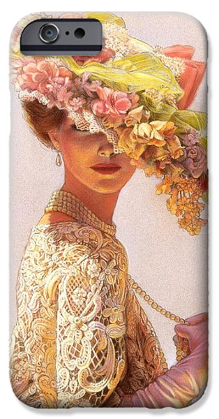 Florals Pastels iPhone Cases - Lady Victoria Victorian Elegance iPhone Case by Sue Halstenberg