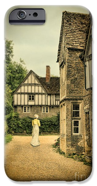 Charming Cottage iPhone Cases - Lady Walking in the Village iPhone Case by Jill Battaglia