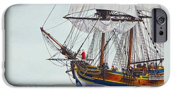 Lady Washington iPhone Cases - Lady Washington and Captain Gray iPhone Case by James Williamson