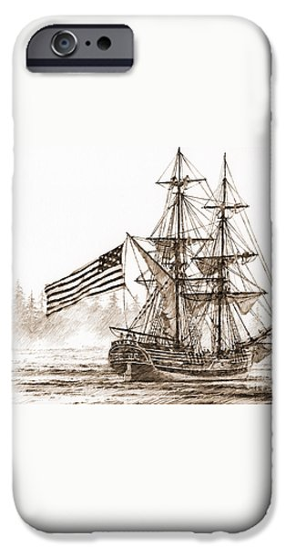 Lady Washington at Friendly Cove Sepia iPhone Case by James Williamson