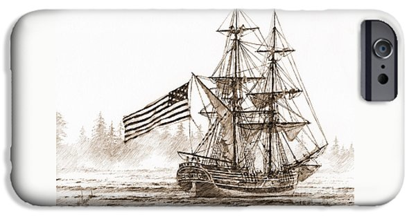 Lady Washington iPhone Cases - Lady Washington at Friendly Cove Sepia iPhone Case by James Williamson