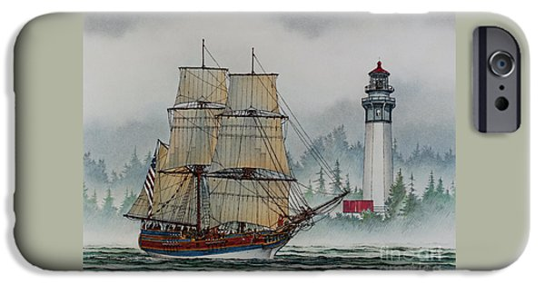 Lady Washington iPhone Cases - Lady Washington at Grays Harbor iPhone Case by James Williamson