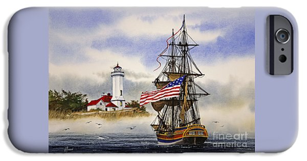 Lady Washington iPhone Cases - Lady Washington at Point Wilson Lighthouse iPhone Case by James Williamson