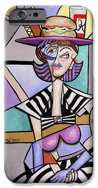 Fast Food iPhone Cases - Lady With A Lunch Hat iPhone Case by Anthony Falbo