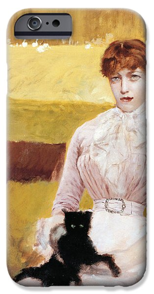 Young Paintings iPhone Cases - Lady with Black Kitten iPhone Case by Giuseppe De Nittis