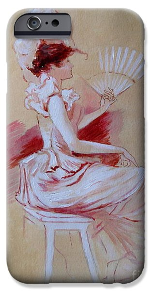 Dressing Room Paintings iPhone Cases - Lady with Fan - after Jules Cheret iPhone Case by Elizabeth Crabtree