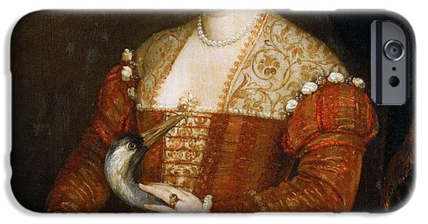 Paolo iPhone Cases - Lady with Heron iPhone Case by Paolo Veronese