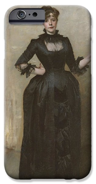 Charlotte Paintings iPhone Cases - Lady with the Rose - Charlotte Louise Burckhardt iPhone Case by John Singer Sargent