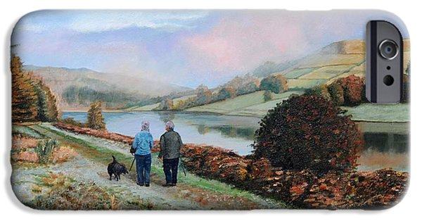 Peak iPhone Cases - Ladybower Reservoir, Derbyshire, 2009 Oil On Canvas iPhone Case by Trevor Neal